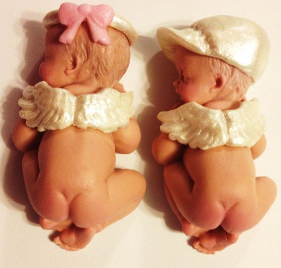 These twins are ready for your cake.So So cute. Baby Shower, Birthday, Baptism, Cake Topper , christening on Etsy, $35.00