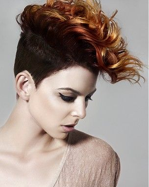 A medium red wavy coloured multi-tonal shaved sides quiff hairstyle by Hooker & Young