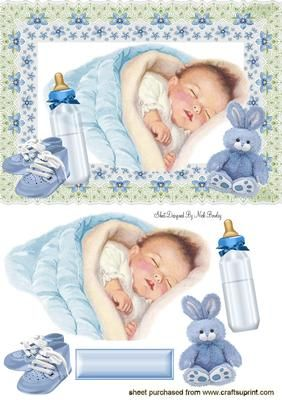 SWEET DREAMS BABY BOY IN FLORAL FRAME on Craftsuprint designed by Nick Bowley - SWEET DREAMS BABY BOY IN FLORAL FRAME, With cute bunny and bottle makes a lovely baby card... also matching insert cup542379_415 - Now available for download!