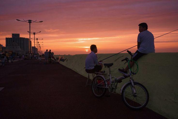 Jeju City waterfront at sunset