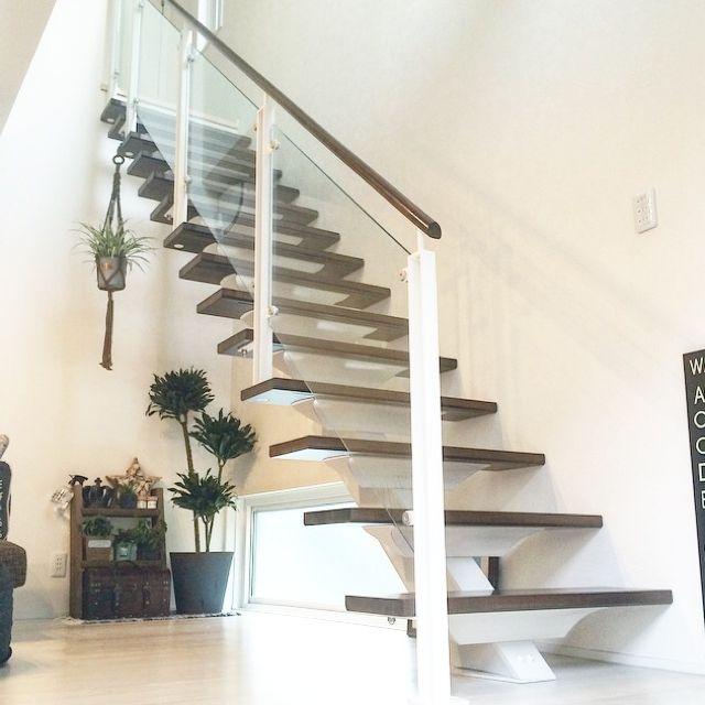 Shioさんの、観葉植物,積水ハウス,階段,オープン階段,シースルー階段,雑貨,リビング,のお部屋写真