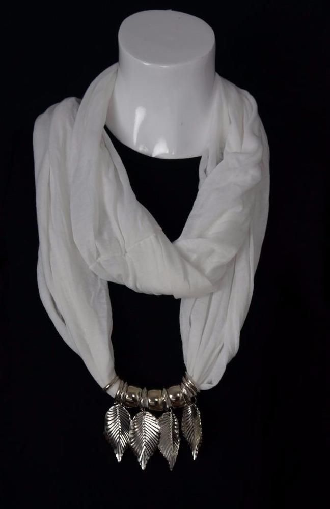 """White Infinity Loop Scarf with Jewel Leaf Pendant Necklace Soft Lightweight  30"""" #NorthSouth #CowlInfinity"""