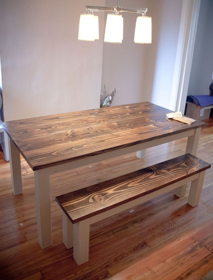 25 best farmhouse dining tables ideas on pinterest farm for Solid wood farmhouse table