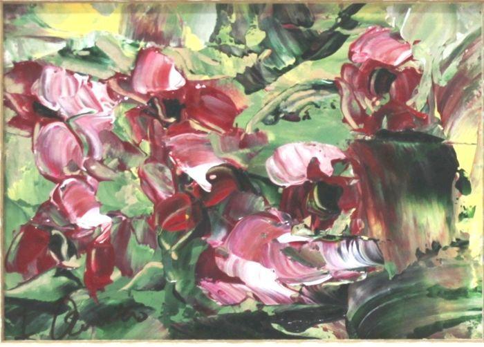 Isabel Quintero (20e eeuw) - rode bloemen  Oorspronkelijke stuk perfect ingelijst. Gecertificeerd. Klaar om op te hangenElegante werk originele van de schilder Isabel Quintero.Afmetingen: Ingelijst: 36 x 31 cm - ingelijste: 18 x 13 cmHouten witte en zilver frameSevilla schilder. Impressionistische school. Haar opleiding als een schilder dus autodidact is later aangevuld in verschillende studio's van beroemde schilders uit Sevilla. Ze heeft altijd het gevoel van een grote voorliefde voor de…