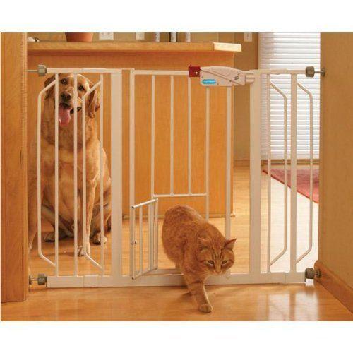 carlson pet wide walkthru gate with pet door white inch