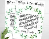 Wedding Welcome Note, Watercolor Wreath, Rustic Wedding Card, Wedding Welcome Bag, Welcome Letter, Thank You Note, Wedding Itinerary