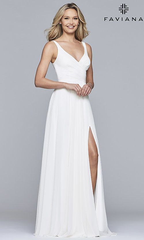66f7311c28f Long Sleeveless Classic Chiffon Formal Dress