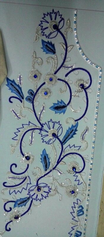 Front portion caftan in silver work and blue stones