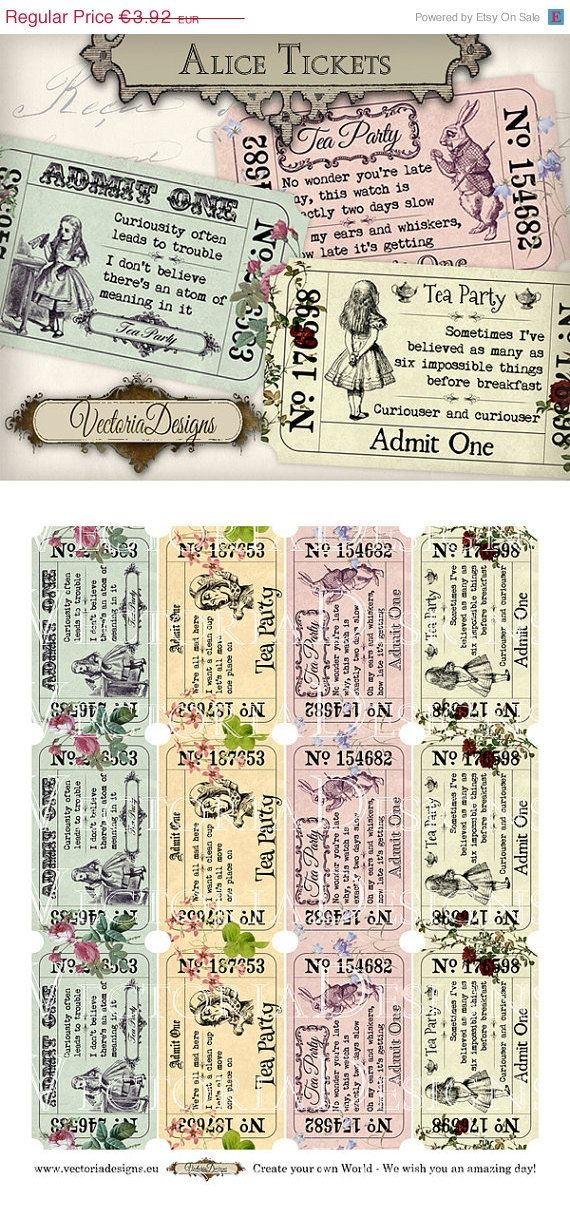 ON SALE Colored Alice in Wonderland Tea Party Invitation Tickets printable images digital collage sheet VD0590