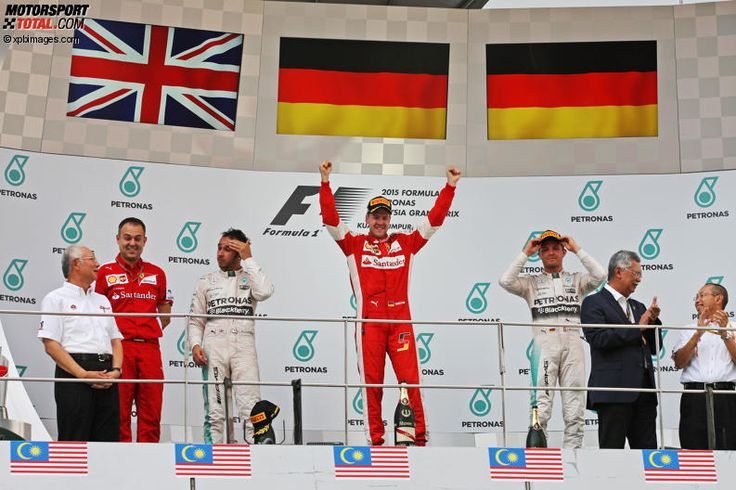 Sebastian Vettel Ferrari on the Podium in Malaysia