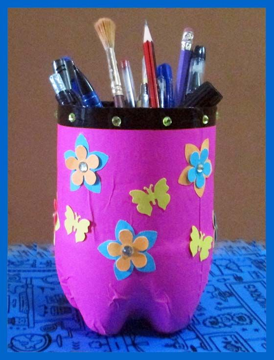 11 best images about pen stand on pinterest pencil cup for Craft using waste bottles
