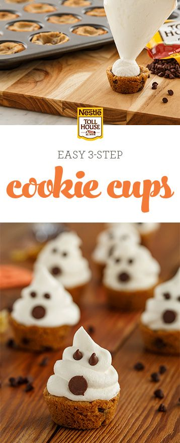 Dress up your Halloween treat game this year with a batch of Haunted Cookie Cups. Incredibly easy to make and perfect for parties, this spooky recipe will have your guests gasping over these ghoulishly adorable treats. Grab the recipe and bake some of the tastiest ghosts in town.