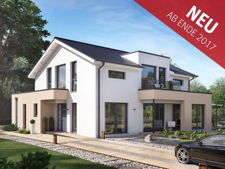 Modernes Einfamilienhaus mit Satteldach - Haus Concept-M 155 Bien Zenker - Hauseingang mit Vordach Erker Balkon - HausbauDirekt.de