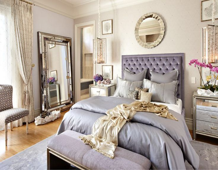 Silver purple and gold bedroom