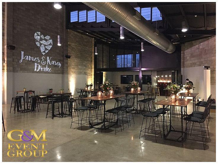 Kasey & James' wedding @ the Joinery West End - Custom Monogram & Warm White Uplighting | Wedding Lighting #warehousewedding #custommonogram #uplighting #weddinglighting #gmeventgroup