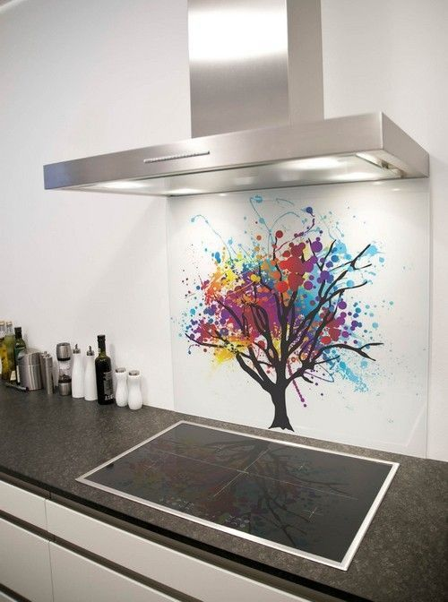 Kitchen, Colorful Tree Glass Backsplash Picture Salt And Pepper Mills Dark Grey Marble Countertop Induction Stove Stainless Steel Kitchen Ex...