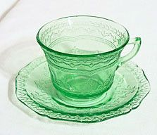 Depression Glass - Federal - Patrician / Spoke - Green Cup & Saucer Set
