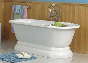 Contemporary Art Sites Double ended tub without faucet holes