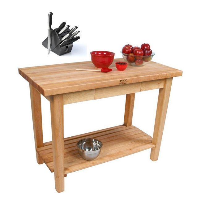 John Boos C03C-D-S 60x24 Country Maple Work Table with Drawer and Shelf, and 13-piece J.A. Henckels Knife Set