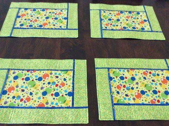 Polka Dot Placemats Set Of 4 Green Yellow Placemats Etsy Yellow Placemats Placemats Pink Quilts