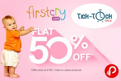 Firstcry brings Tick-Tock Sale and offering Flat 50% on Toys. offer ends at 6 PM. Valid on Select Products. FirstCry Coupon Code – TTMAR50  http://www.paisebachaoindia.com/flat-50-on-toys-tick-tock-sale-firstcry/