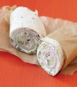 Turkey Wrap with Cucumber Cream Cheese from Rachael Ray - Stir cucumber into cream cheese, spread on tortillas, layer with turkey slices and roll up... simple enough!