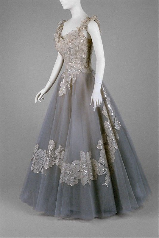Evening Dress 1959, American, Made of silk and nylon