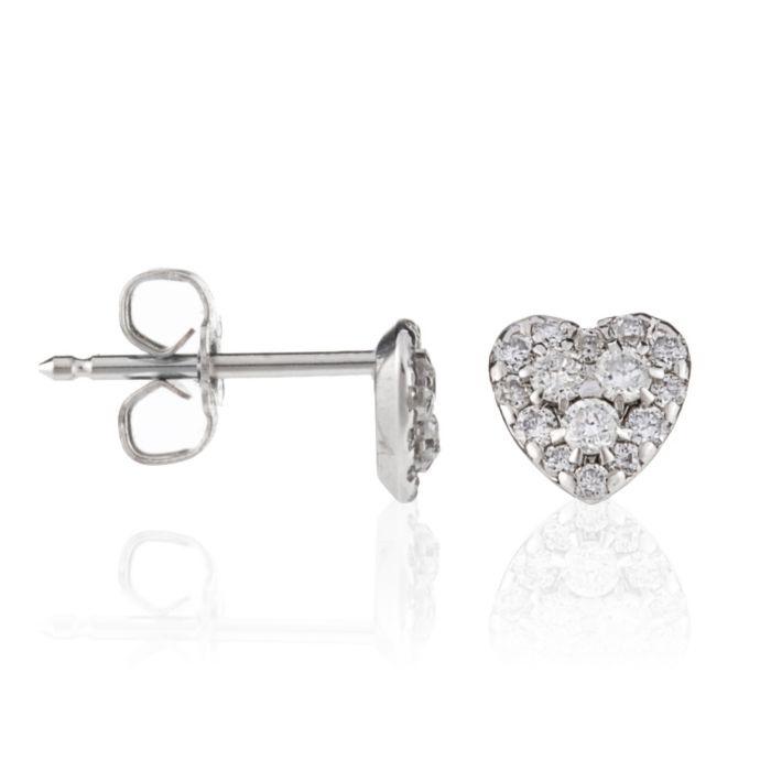 White Gold Heart-Shaped Stud Earrings