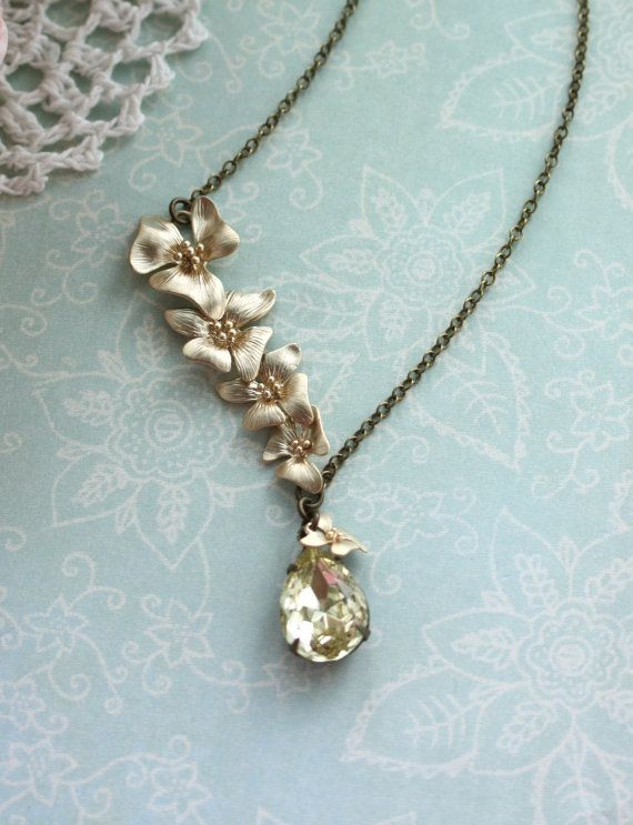 A Cascading Orchid Flower, Yellow Jonquil Glass Jewel Vintage Style Necklace.  Wedding Jewelry. Bridesmaid Gift Ideas. Maid Of Honour.