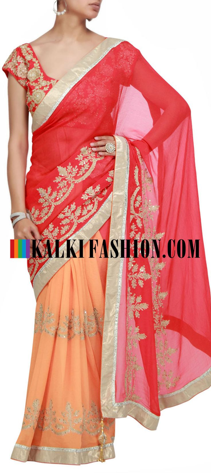 Buy it now  http://www.kalkifashion.com/half-and-half-saree-in-orange-and-chiffon-with-thread-work.html  Half and half saree in orange and chiffon with thread work