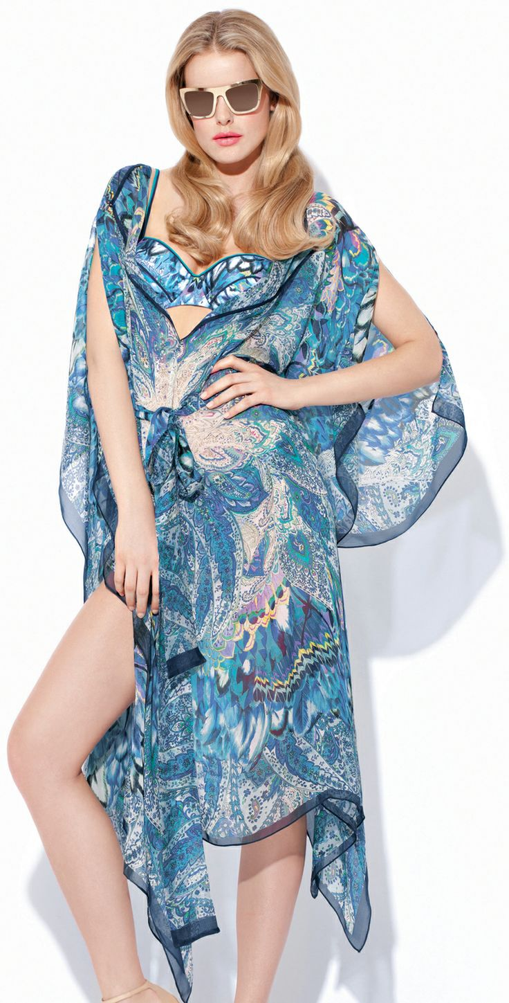 The Gottex Sierra blue beach cover up is a long caftanSingapore best beach  cover www.
