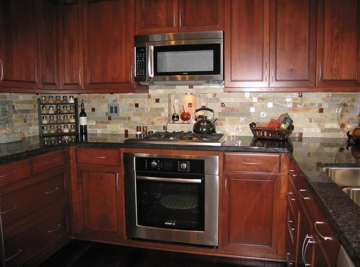 backsplash with cherry cabinets kitchen tile backsplash