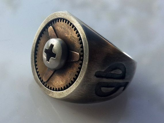 Rustic Steampunk-Signet Ring-mens signet ring-Big Strong Ring-steampunk engagement ring-Mens chunky ring-geek engagement ring-mad max-MJ