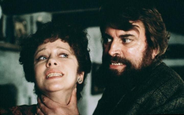 Getting it in the neck: Brian Blessed as Geoffrey Lyons and Connie Booth as Laura Lyons in the 1983 film adaptation of The Hound of the Baskervilles (1902)