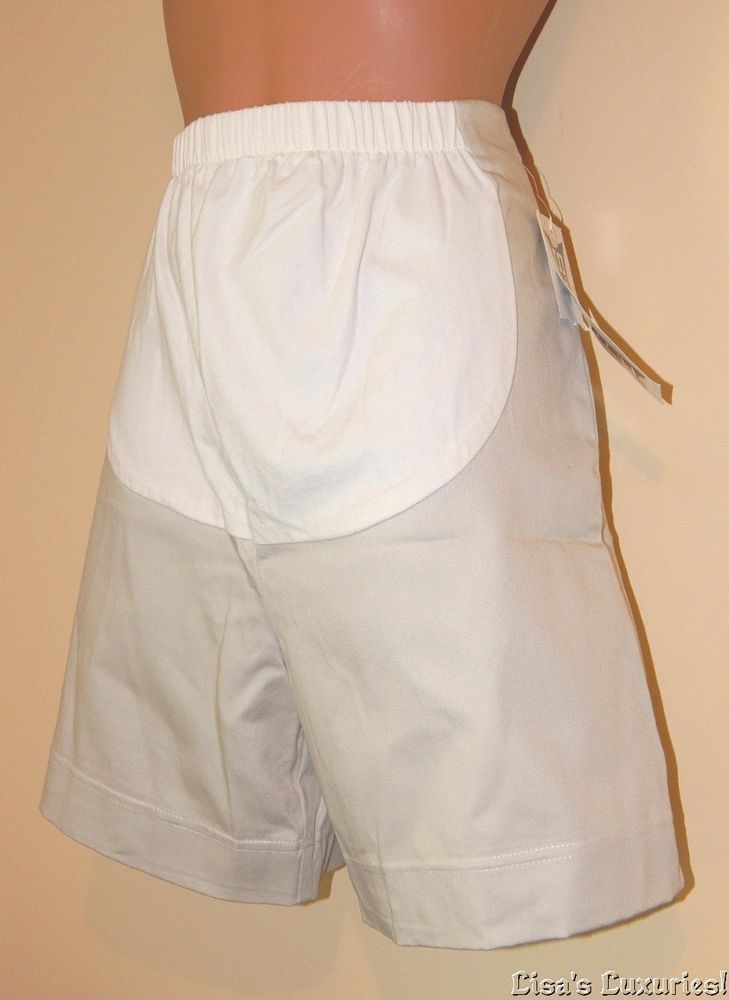 NWT Women's Maternity Shorts Small DUO MATERNITY Stone Beige Khaki #DuoMaternity #DressShorts
