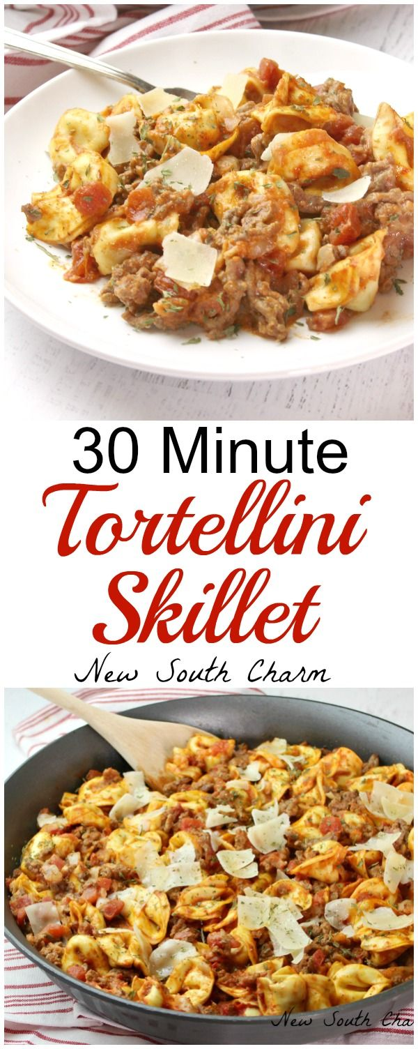 30 Minute Skillet Tortellini is and easy recipe packed full of Italian flavor and yummy cheese.