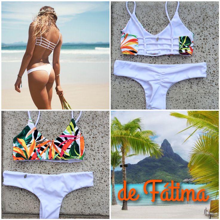 Bikini blanco espalda tiritas estampado Selvático