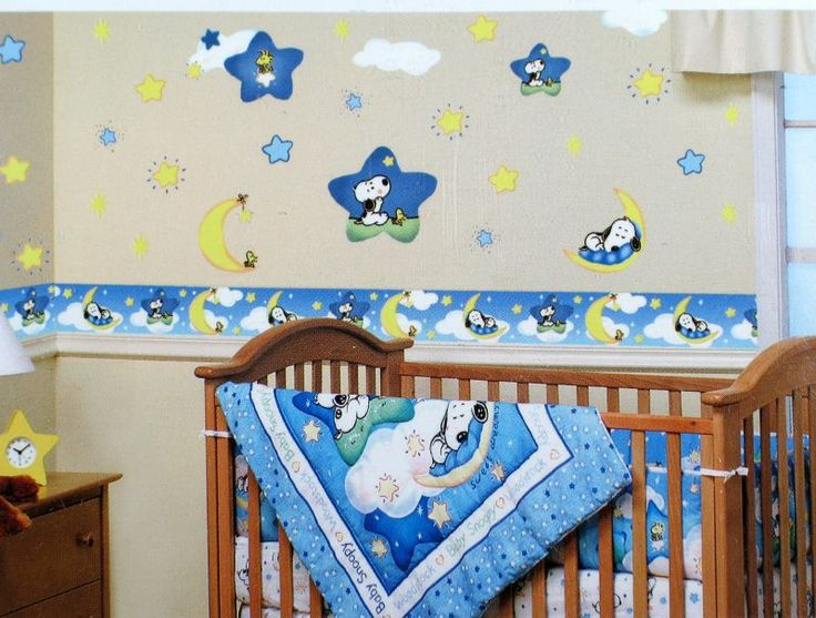Comfortable Snoopy Baby Room Decoration In Blue Fascinating