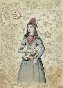 A Portrait of  a Dervish by Nur Ali Shah, Iran, 19th Century.