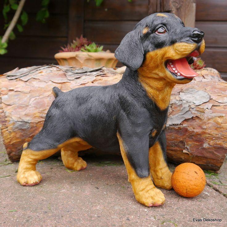 Gartenfigur Rottweiler Dobbermann Welpe Hund Hunde lebensecht   Haus und Garten