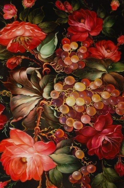 Zhostovo handicraft from Russia.  Utterly beautiful floral painting.