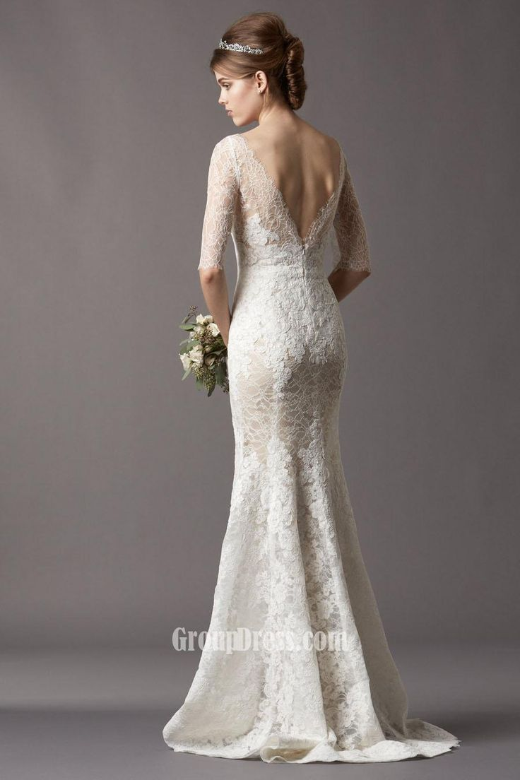 Lace fit and flare wedding dress wedding dresses for Pinterest wedding dress lace