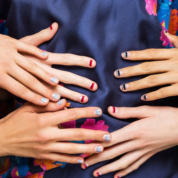 Top Nail Trends Spring 2016 Runways: Striped Horizontal striped nails at Tanya Taylor mimicked the multilayered jewelry of the Masai. Tanya Taylor Spring 2016; Image: Courtesy of Sally Hansen