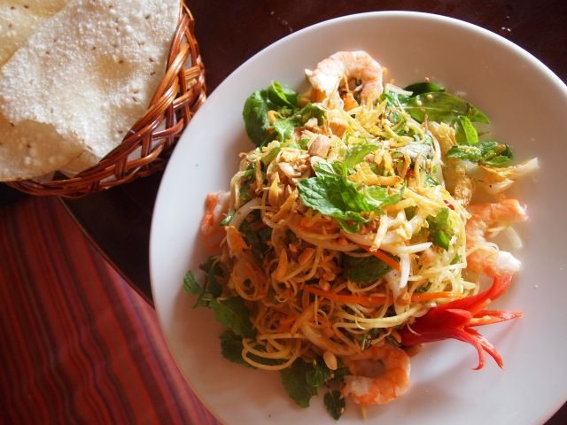 Prawn and green papaya salad at Cargo Club, Hoi An