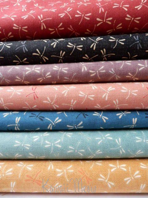 Beautiful Japanese Fabric - Dragonfly - 7 Fat Quarter Bundle Set - (12ki0219).