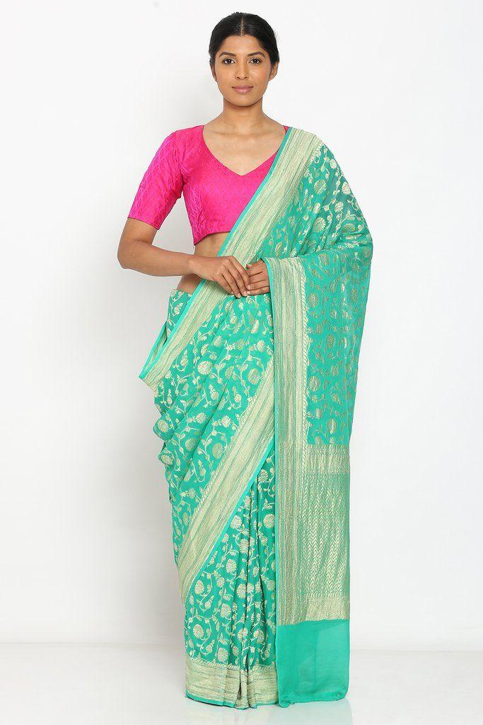 2098a77db6 ₹17,999 Green Handloom Pure Khaddi Georgette Alfi Patola Banarasi Saree  with Rich Floral Jaal