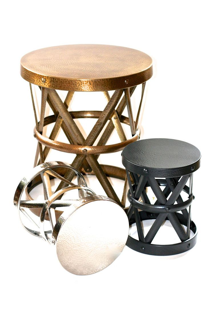 Black Metal Drum Form Side Stool on Chairish.com
