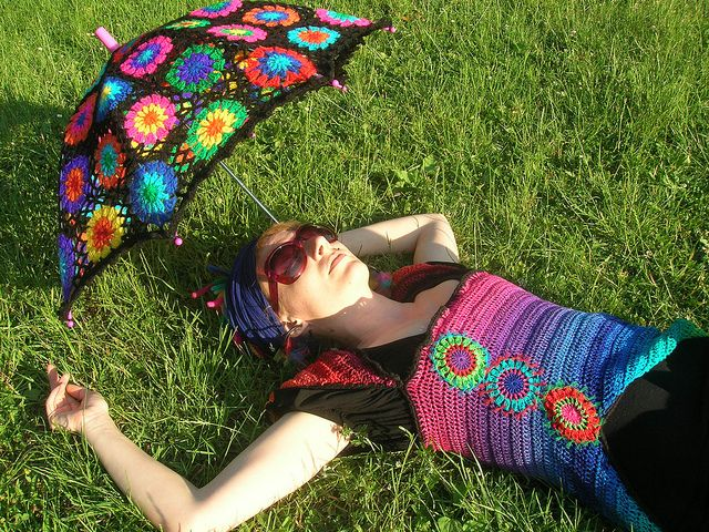Too Awesome....... Crochet Umbrella - Granny Square Parasol And Embellished Rainbow Crochet Top | Flickr - Photo Sharing!