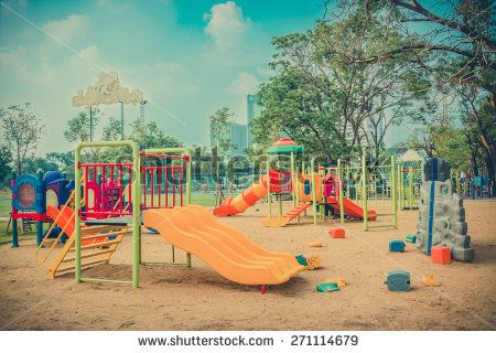 Children kid playground for leisure and recreation activity with toy and slider leftover in the park in childhood color style