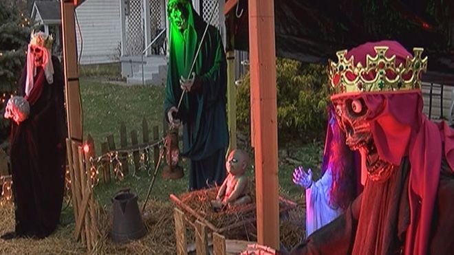 Dec 2014 / Ohio homeowner told to take down his zombie nativity scene / http://www.foxnews.com/us/2014/12/23/ohio-homeowner-told-to-take-down-his-zombie-nativity-scene/